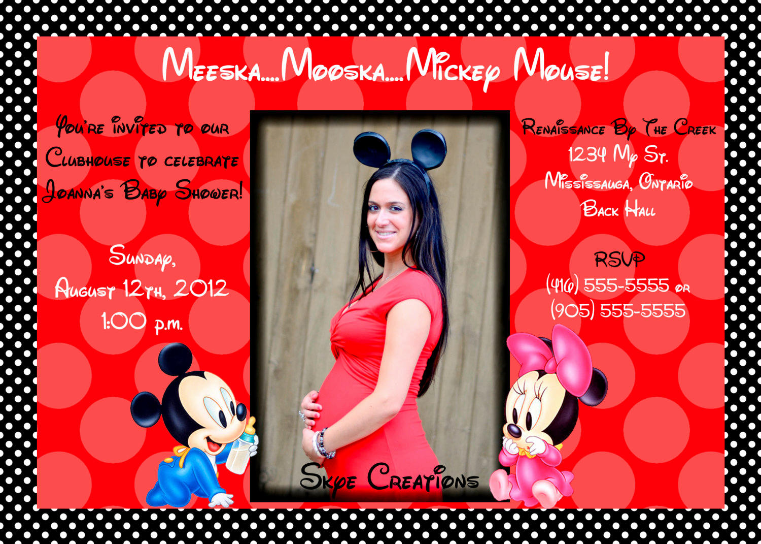 Mickey and Minnie Invitation Templates Inspirational Baby Mickey and Minnie Red Polka Dot Invitation