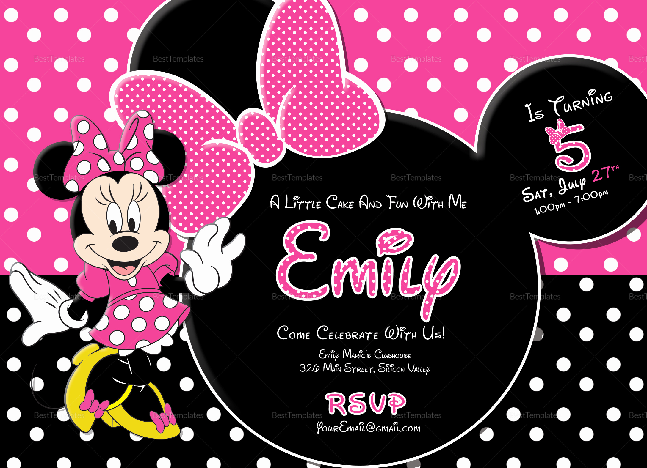 Mickey and Minnie Invitation Templates Lovely Special Minnie Mouse Birthday Invitation Design Template