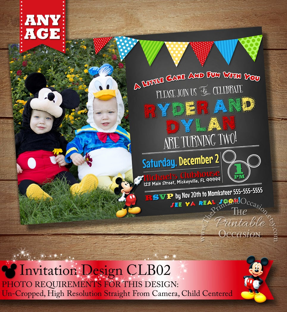 Mickey and Minnie Invitation Unique You Choose Mickey Minnie Twins Birthday Invitation Twins