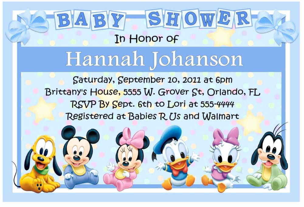 Mickey Mouse Baby Shower Invitation Beautiful Baby Mickey Disney Babies Baby Shower Invitations