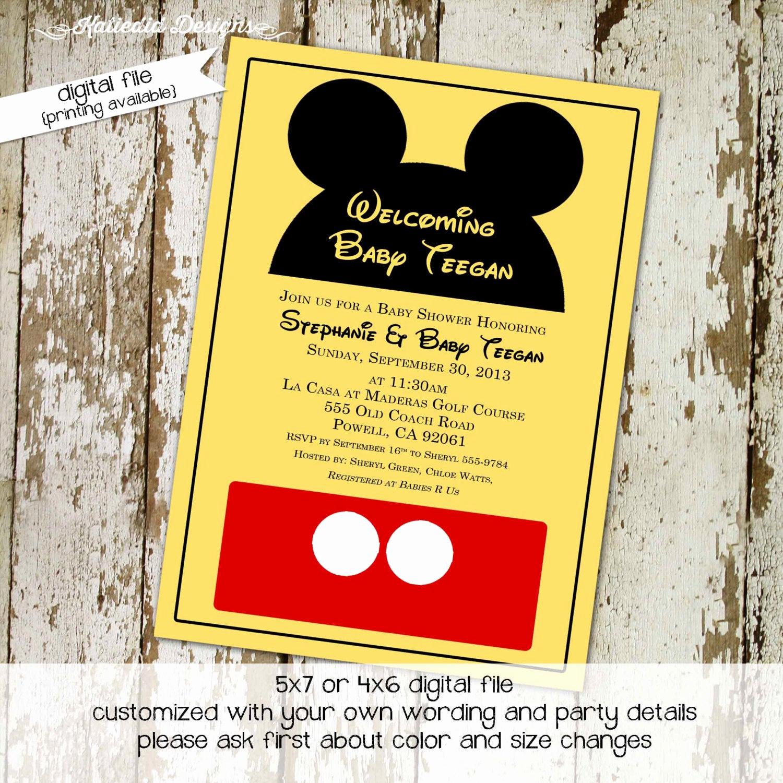 Mickey Mouse Baby Shower Invitation Elegant Mickey Mouse Birthday Invitation Disney themed Baby Shower