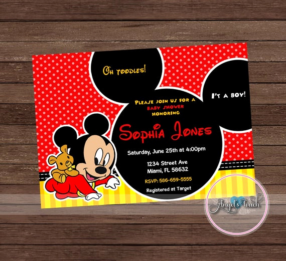 Mickey Mouse Baby Shower Invitation Inspirational Mickey Mouse Baby Shower Invitation Mickey Mouse Baby Shower