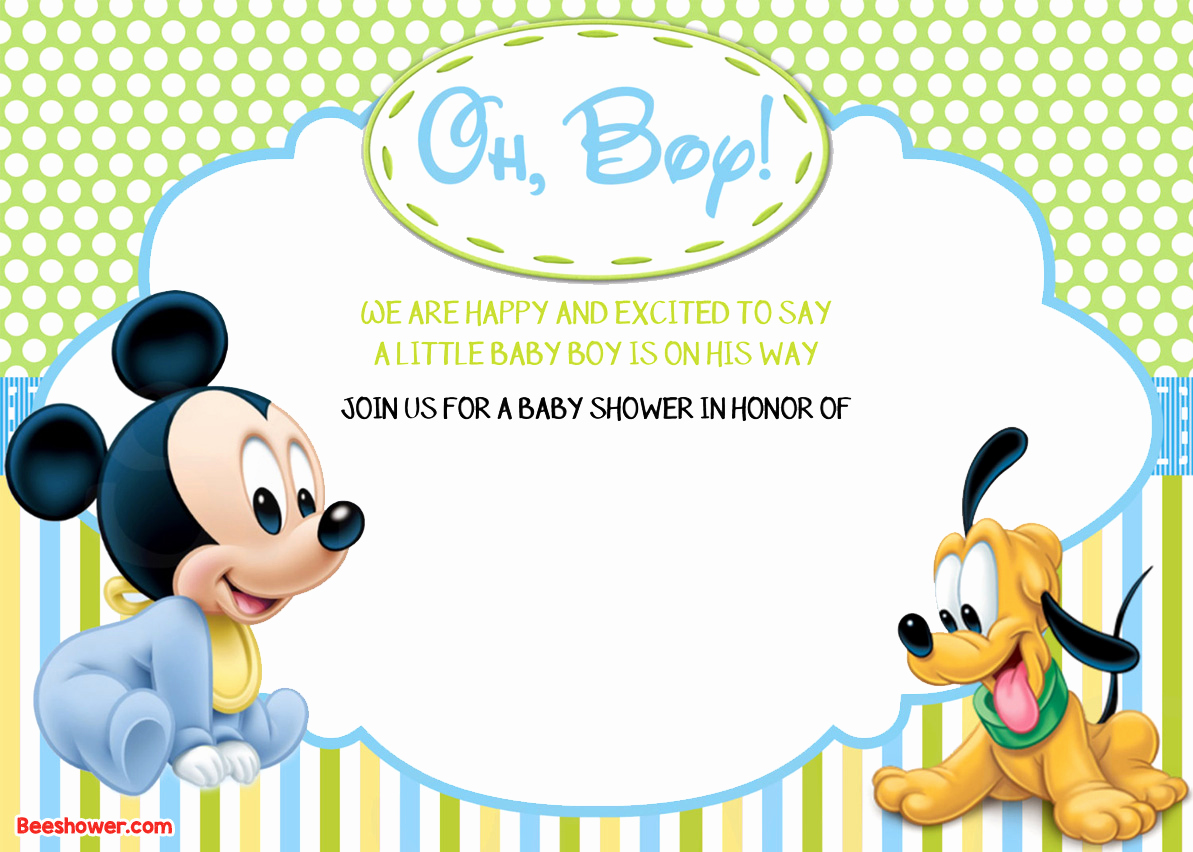 Mickey Mouse Baby Shower Invitation Lovely Free Printable Disney Baby Shower Invitations