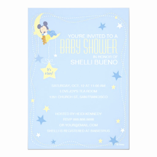 "Mickey Mouse Baby Shower Invitation Luxury Baby Mickey Mouse Baby Shower 5"" X 7"" Invitation Card"