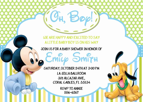 Mickey Mouse Baby Shower Invitation Luxury Disney Baby Mickey Mouse Inspired Baby Shower or Birthday