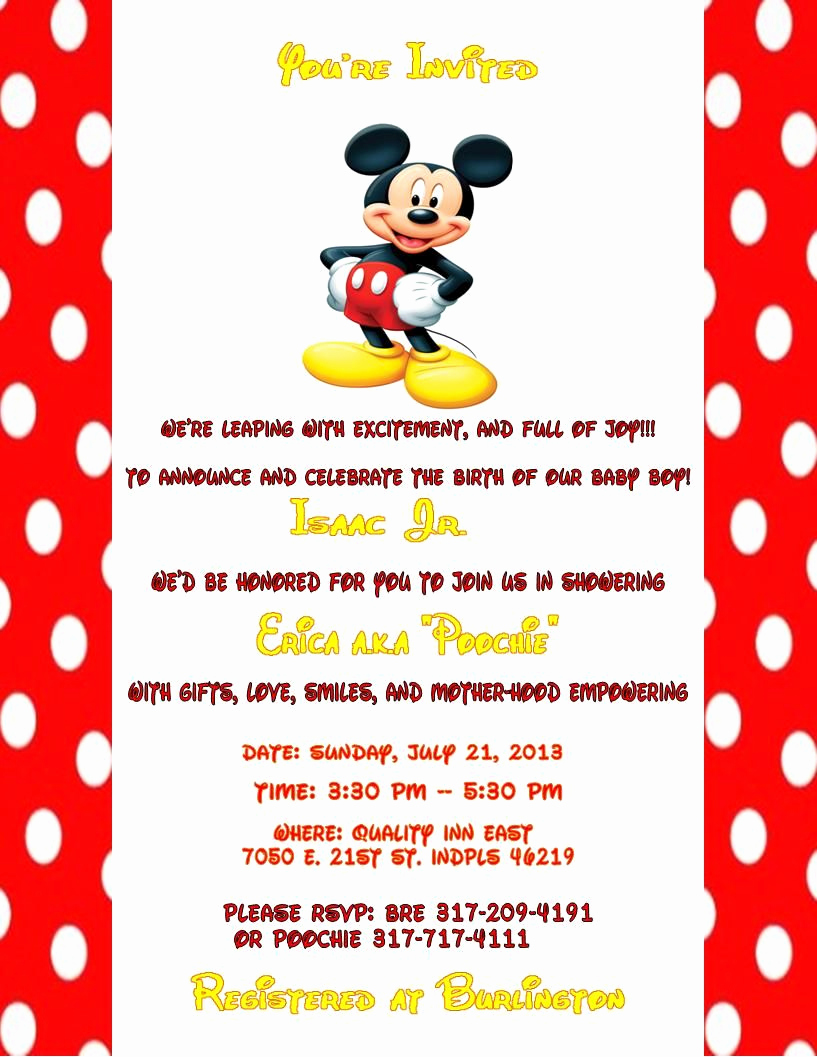 Mickey Mouse Baby Shower Invitation Luxury Mickey Mouse Baby Shower Invitations