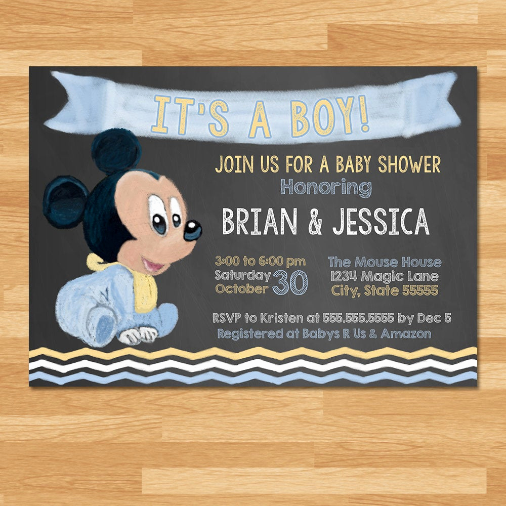 Mickey Mouse Baby Shower Invitation New Baby Mickey Mouse Baby Shower Invitation Chalkboard Blue