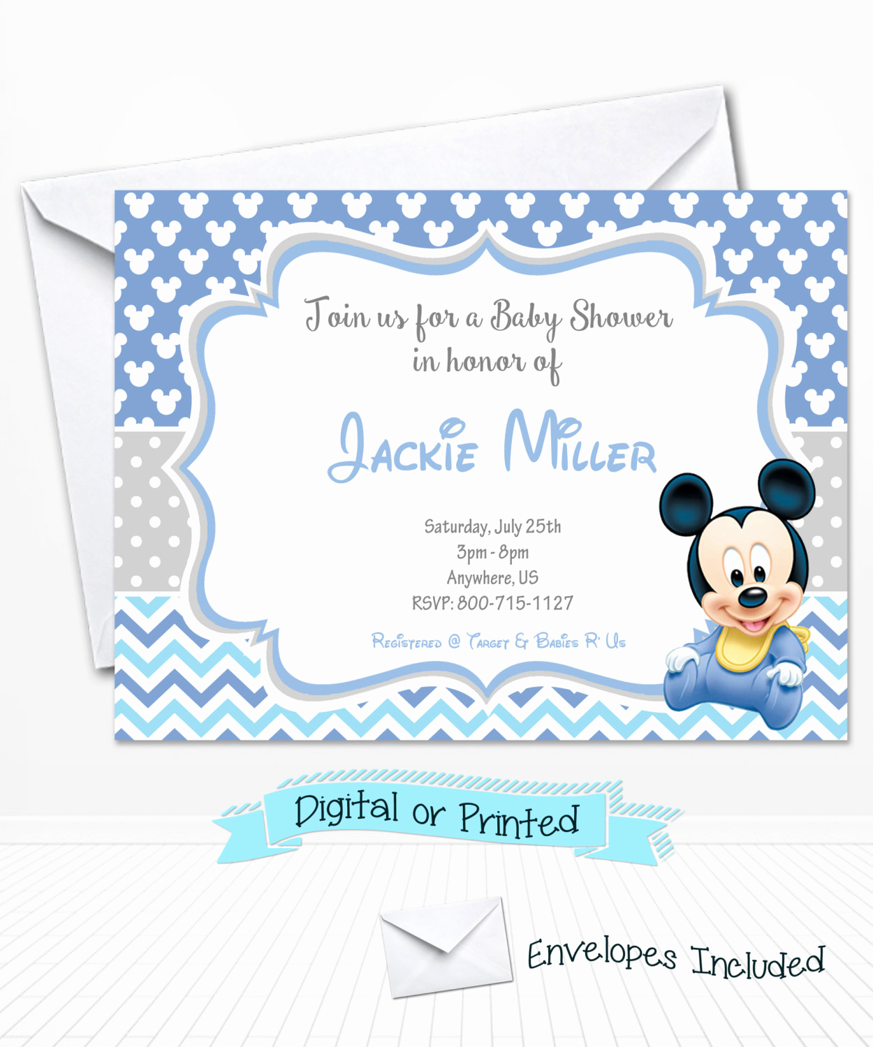 Mickey Mouse Baby Shower Invitation New Baby Mickey Mouse Baby Shower Invitations Printed by