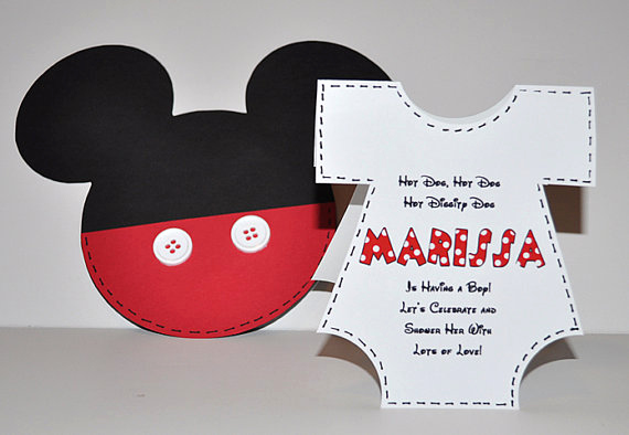 Mickey Mouse Baby Shower Invitation New Baby Shower Invitations