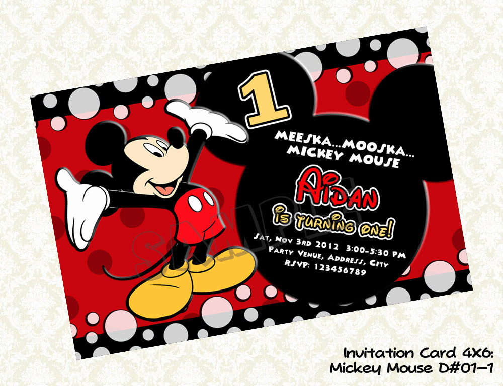 Mickey Mouse Birthday Invitation Awesome Free Printable 1st Mickey Mouse Birthday Invitations