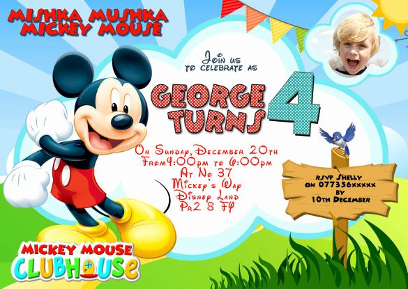 Mickey Mouse Birthday Invitation Beautiful 31 Mickey Mouse Invitation Templates Free Sample