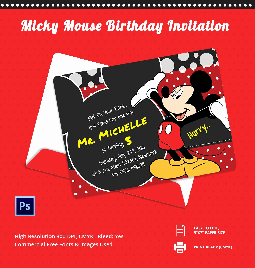 Mickey Mouse Birthday Invitation Best Of Mickey Mouse Invitation Template – 23 Free Psd Vector