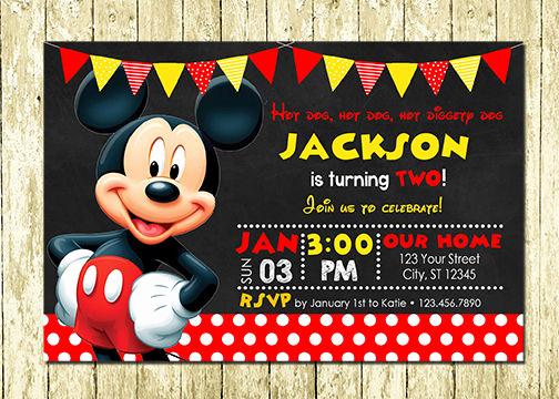 Mickey Mouse Birthday Invitation Elegant Mickey Mouse Printed Chalkboard Birthday Invitations