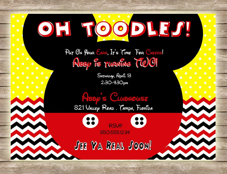 Mickey Mouse Birthday Invitation Fresh Mickey Mouse Oh toodles Chevron and Polka Dot Birthday