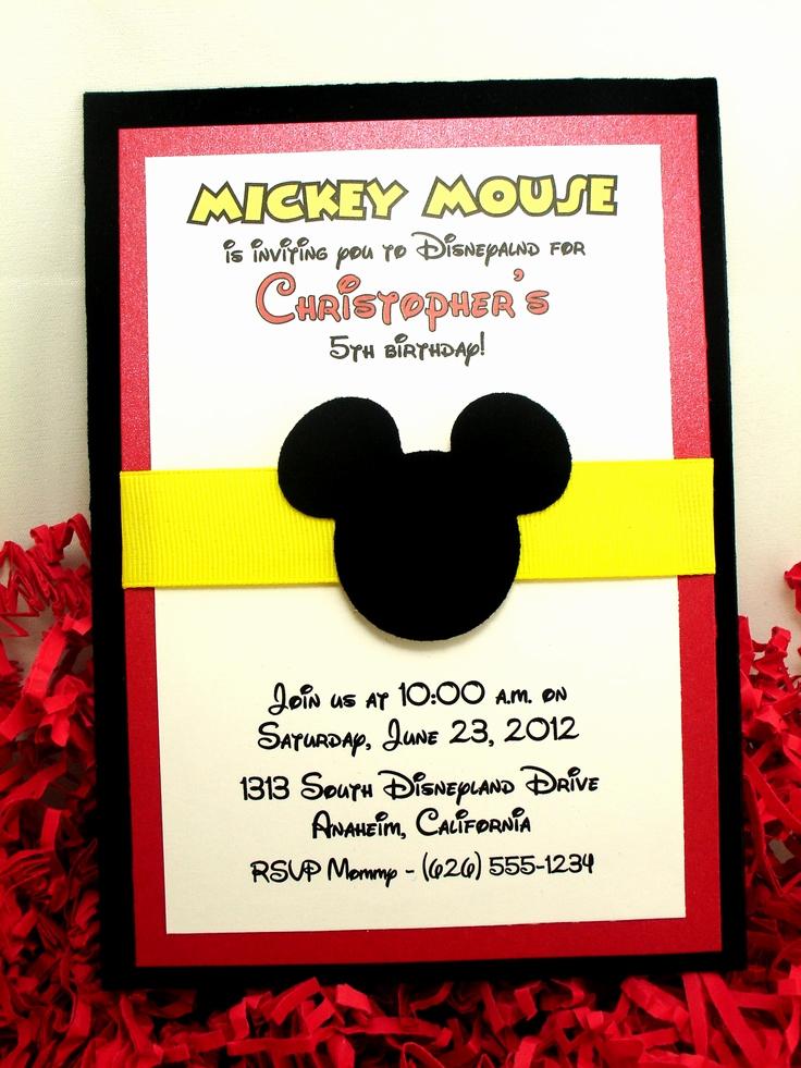 Mickey Mouse Birthday Invitation Lovely 1000 Ideas About Mickey Invitations On Pinterest