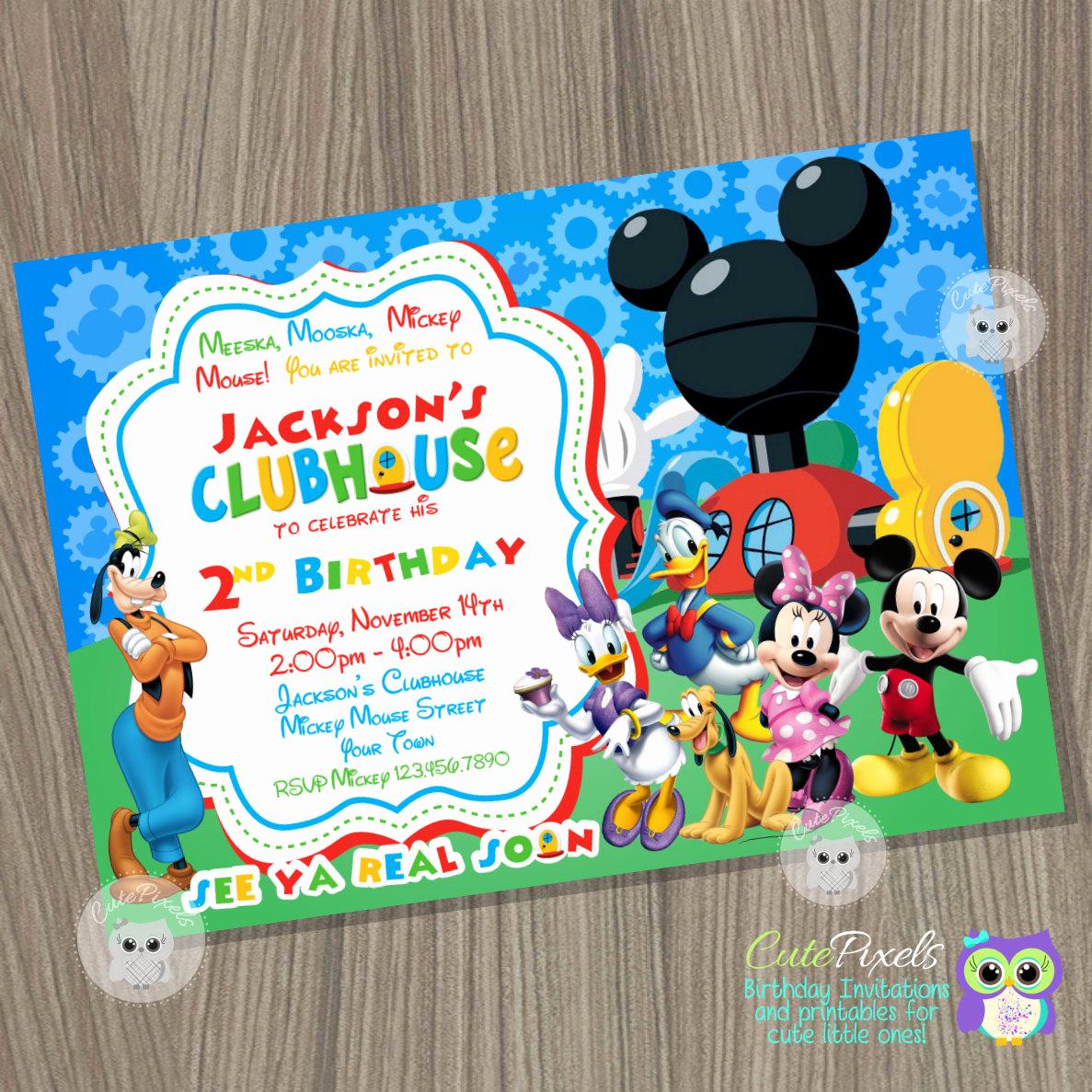 Mickey Mouse Birthday Invitation Lovely Mickey Mouse Clubhouse Invitation Mickey Mouse Birthday