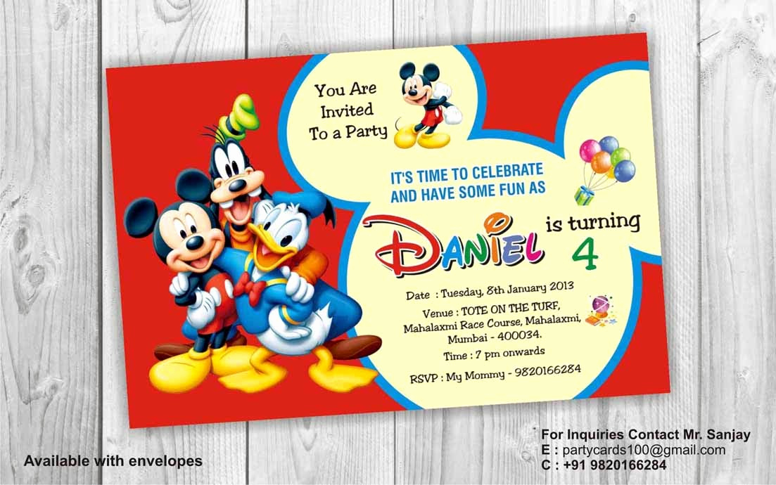 Mickey Mouse Birthday Invitation Luxury Birthday Party Invitation Card Invite Personalised Return