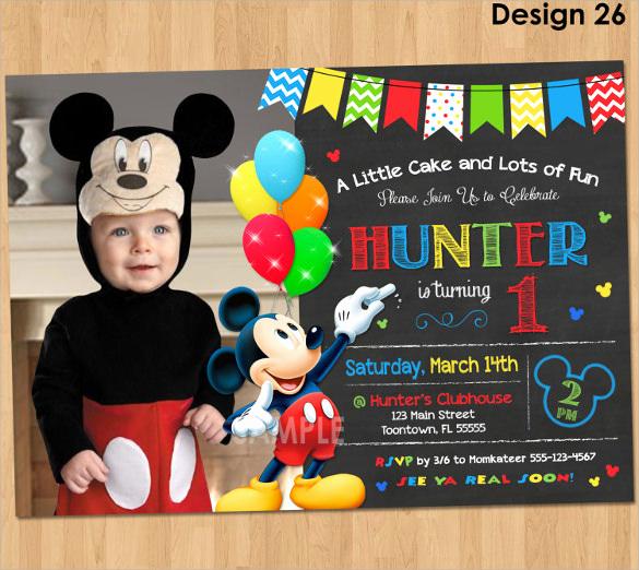 Mickey Mouse Birthday Invitation Luxury Sample Mickey Mouse Invitation Template 13 Download