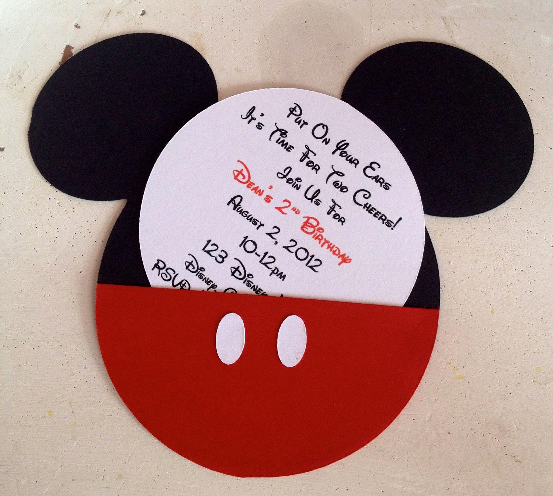 Mickey Mouse Birthday Invitation New Handmade Custom Red Mickey Mouse Birthday Invitations Set Of