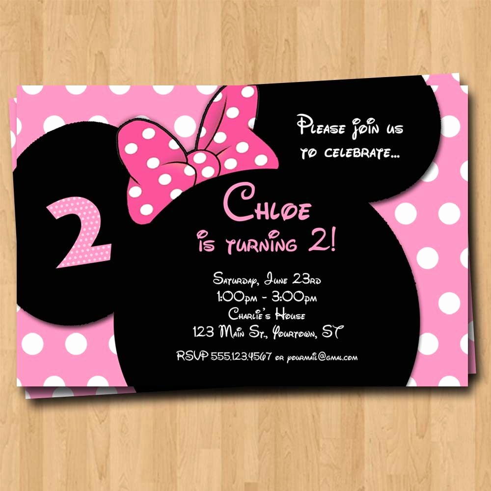Mickey Mouse Birthday Invitation New Minnie Mouse Birthday Invitation Party Invites Custom