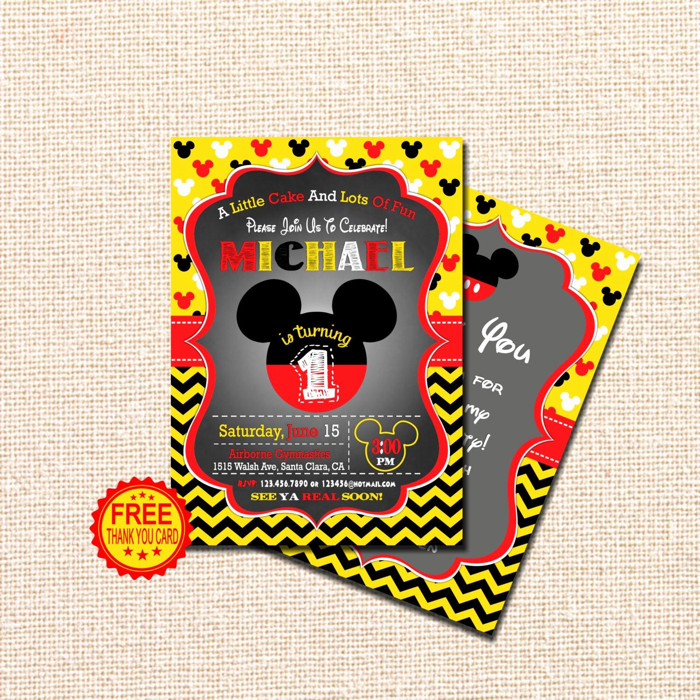 Mickey Mouse Birthday Invitation Unique Mickey Mouse Invitation 1st Birthday Invitation Mickey Mouse