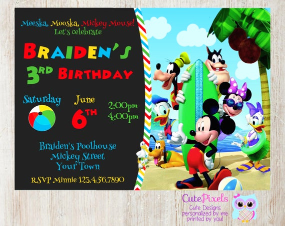Mickey Mouse Club House Invitation Elegant Mickey Mouse Clubhouse Invitation Summer Invitation