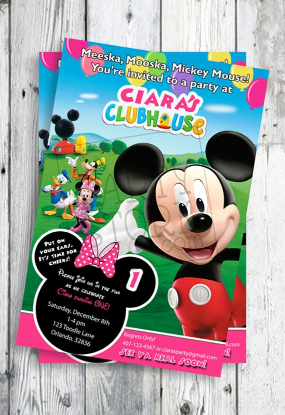 Mickey Mouse Club House Invitation Inspirational Minnie Mouse Invites Minnie Mouse First Birthday Invites