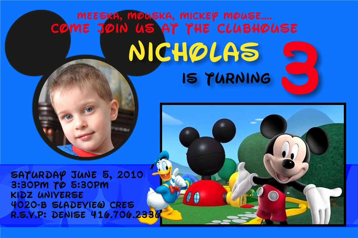 Mickey Mouse Club House Invitation Luxury Personalized Party Invites for Boys Worldwide