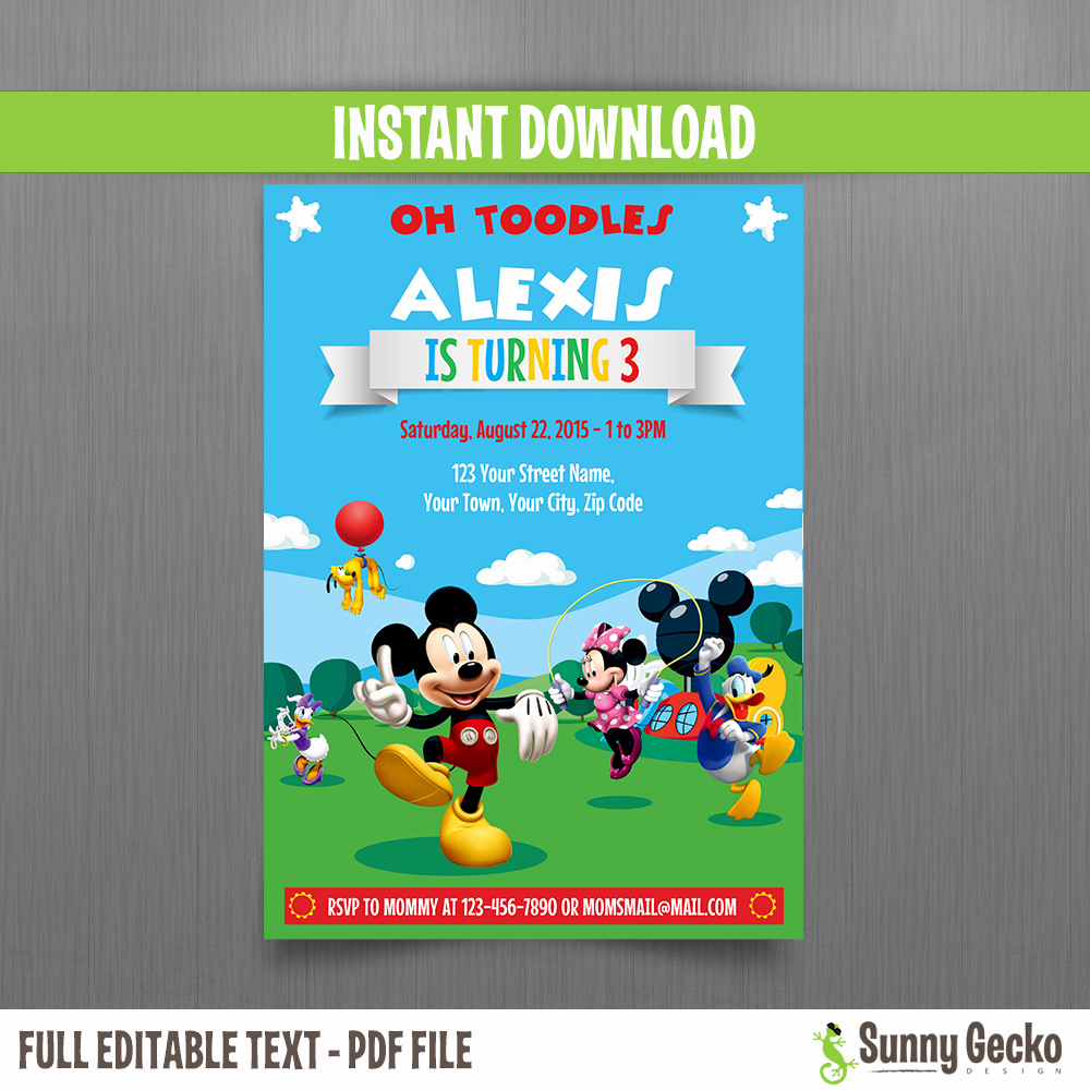 Mickey Mouse Club House Invitation New Mickey Mouse Clubhouse Party 5x7 In Birthday Invitation