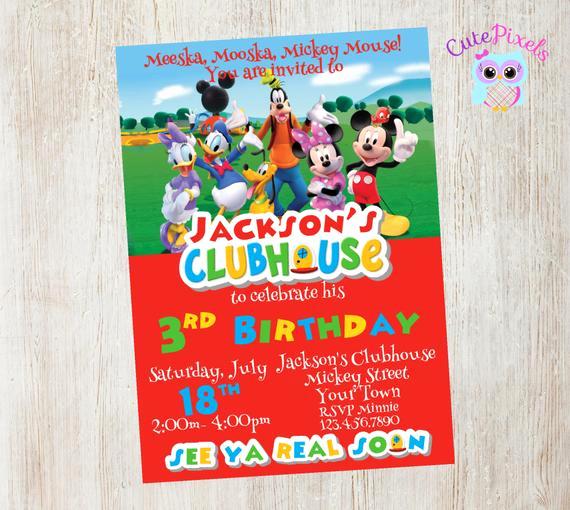 Mickey Mouse Club House Invitation Unique Mickey Mouse Clubhouse Invitation Mickey Mouse Birthday