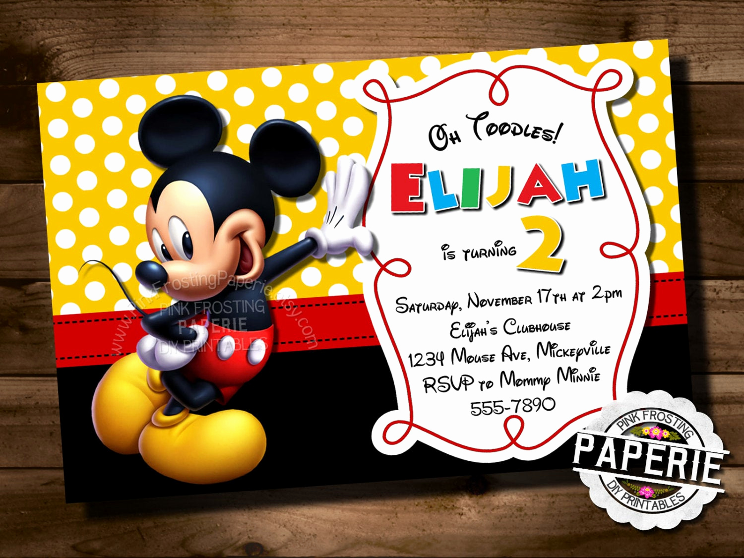 Mickey Mouse Clubhouse Invitation Awesome Mickey Mouse Birthday Invitation Mickey Mouse Clubhouse