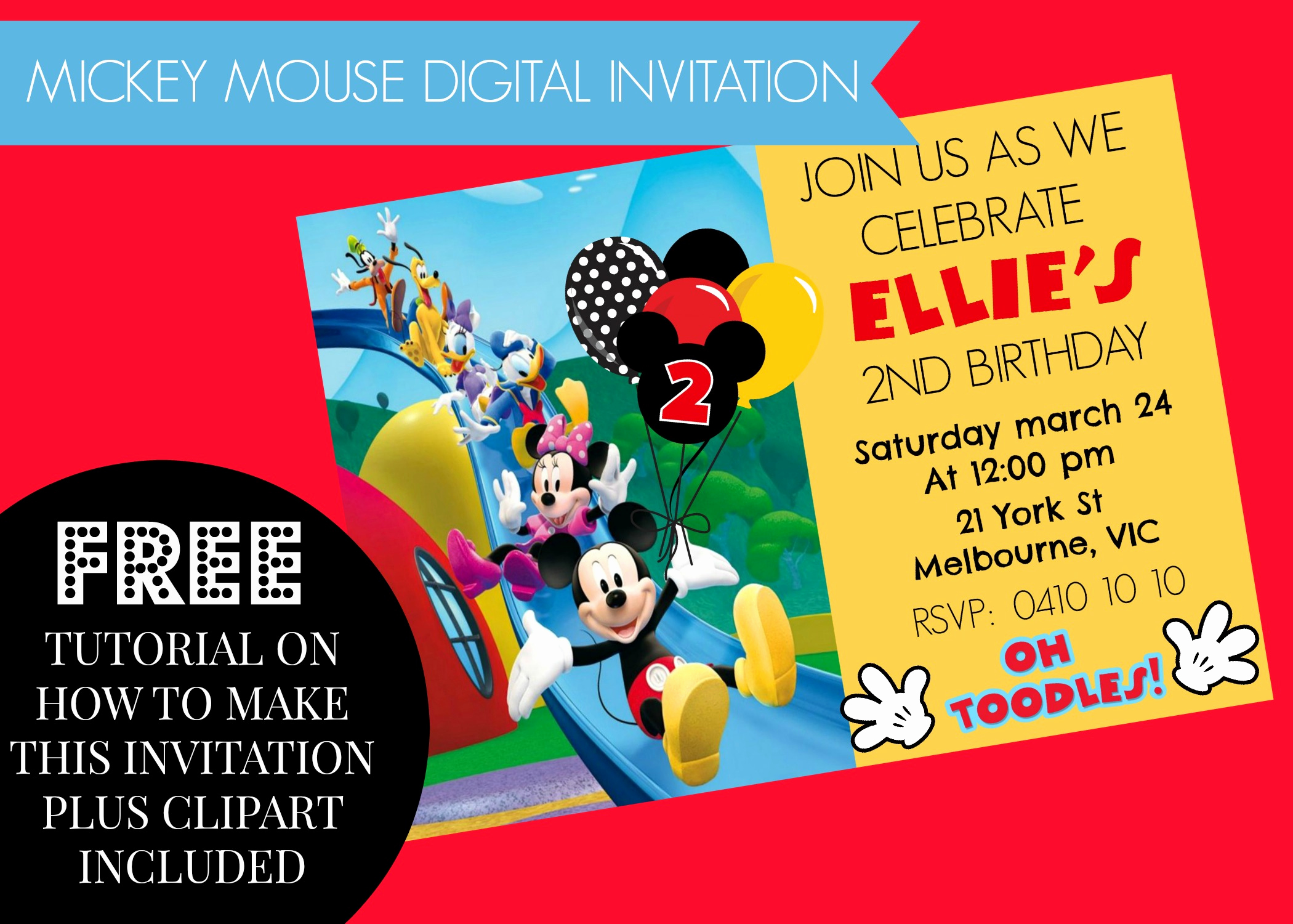Mickey Mouse Clubhouse Invitation Lovely How to Make Mickey Mouse Clubhouse Digital Invitation Step