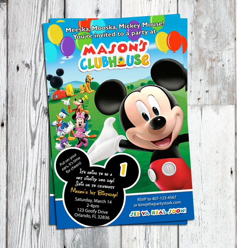 Mickey Mouse Clubhouse Invitation New Mickey Mouse Clubhouse Invitations Printable Personalized