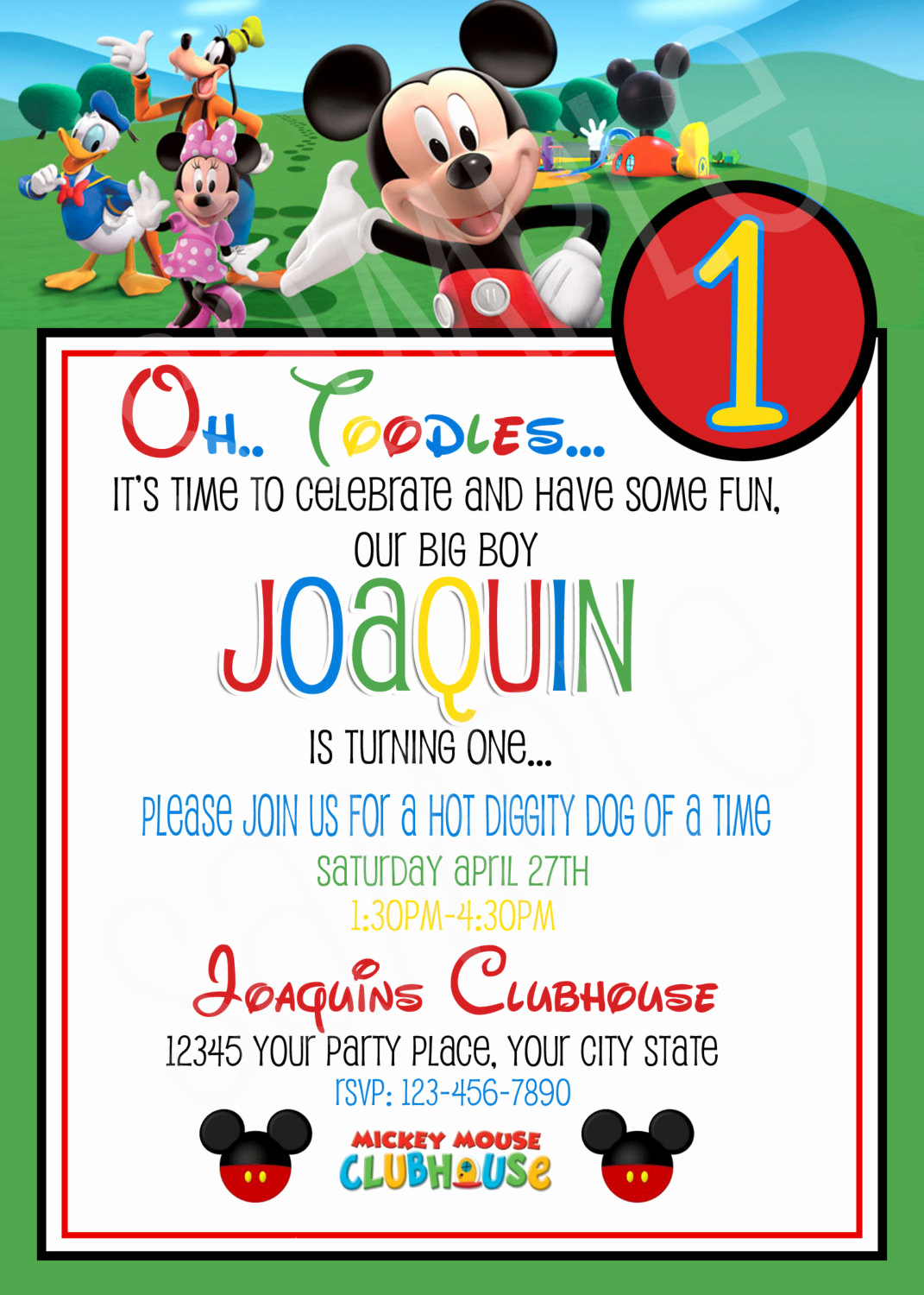 Mickey Mouse Clubhouse Invitation Template Beautiful Mickey Mouse Clubhouse Birthday Invitations Printable