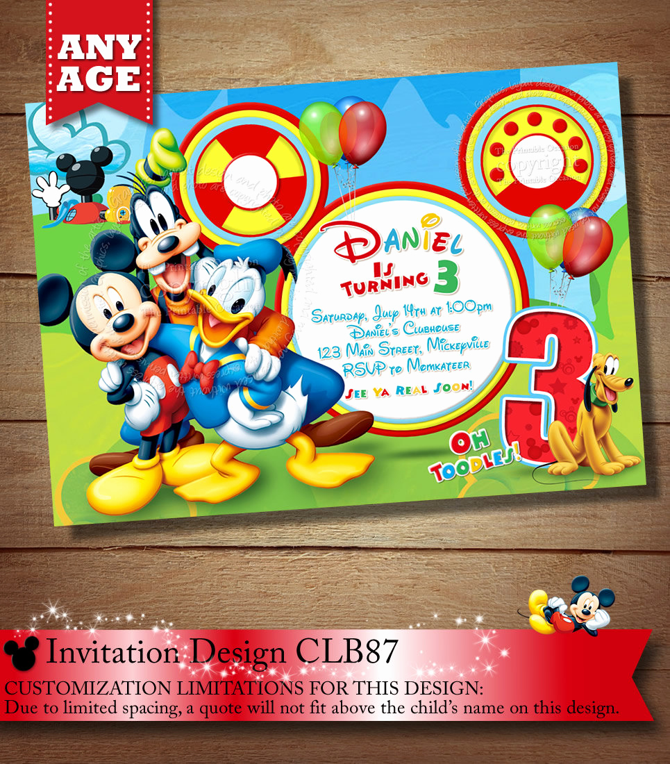 Mickey Mouse Clubhouse Invitation Template Beautiful Mickey Mouse Clubhouse Invitation Mickey Invitation Mickey
