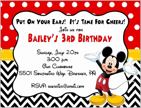 Mickey Mouse Clubhouse Invitation Template Elegant Mickey Mouse Invitation Template 23 Free Psd Vector