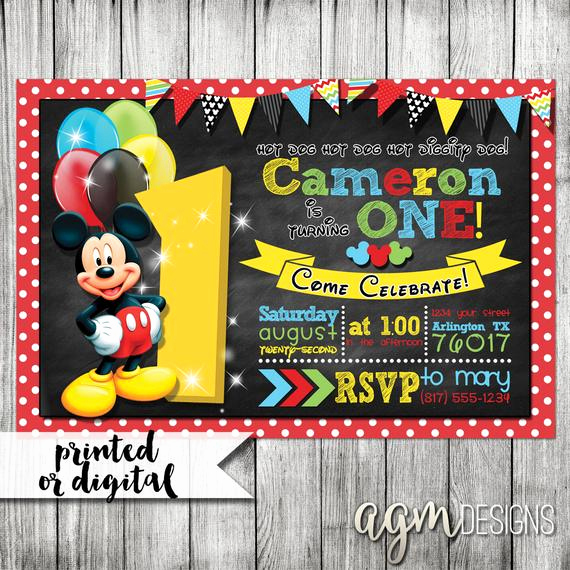 Mickey Mouse Clubhouse Invitation Template Inspirational Mickey Mouse Invitation Mickey Mouse 1st Birthday Mickey