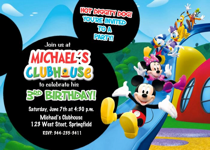Mickey Mouse Clubhouse Invitation Template Luxury Mickey Mouse 1st Birthday Invitations for Girls and Boys