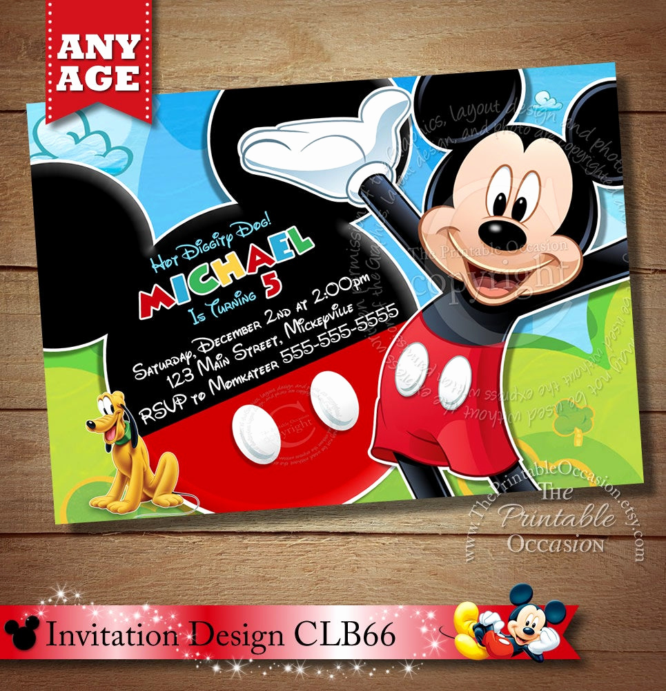 Mickey Mouse Clubhouse Invitation Template Luxury Mickey Mouse Clubhouse Invitation Mickey Invitation Mickey