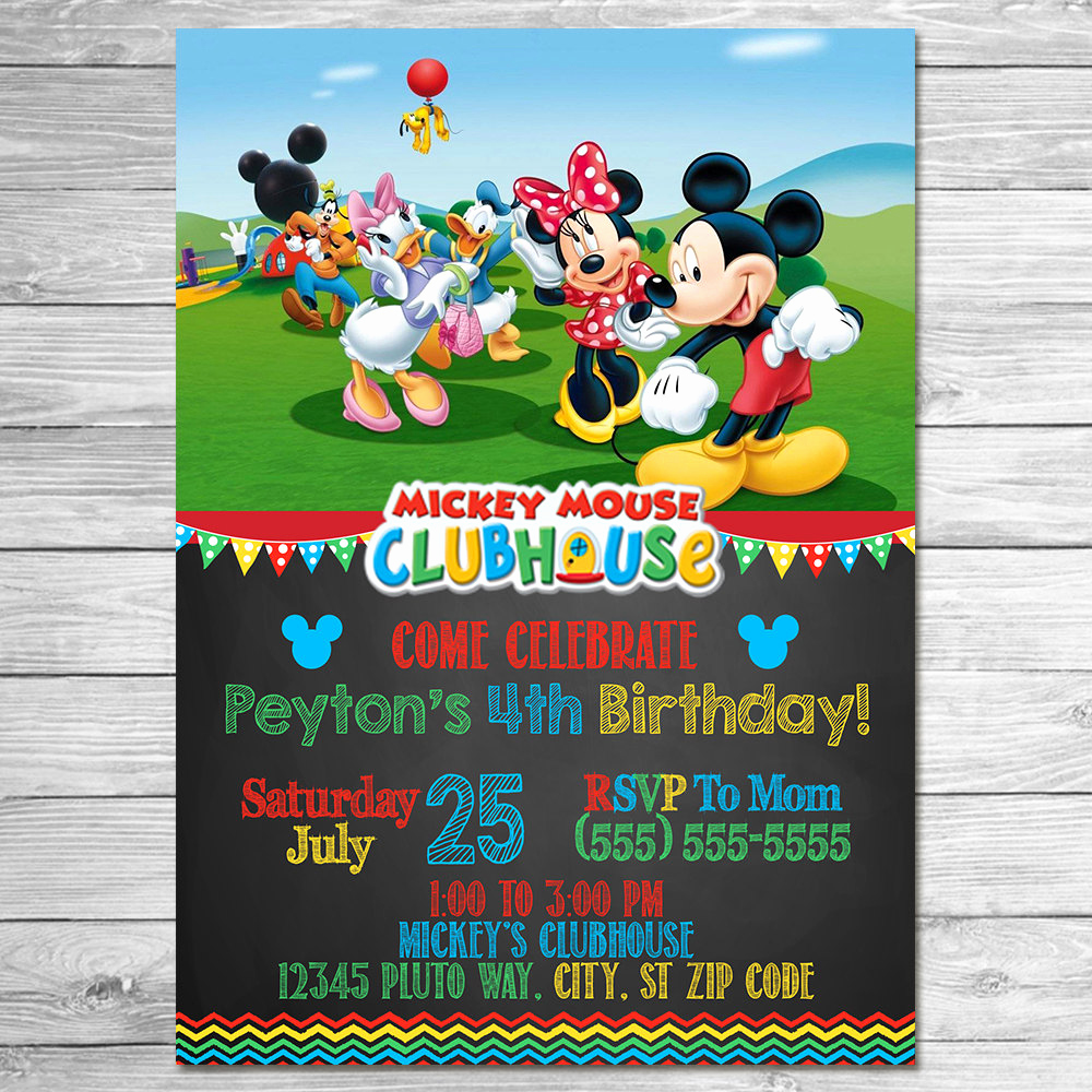 Mickey Mouse Clubhouse Invitation Template New Mickey Mouse Clubhouse Invitation Chalkboard Mickey Mouse