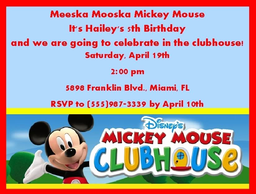 Mickey Mouse Clubhouse Invitation Templates Elegant Mickey Mouse Clubhouse Invitation Template Free