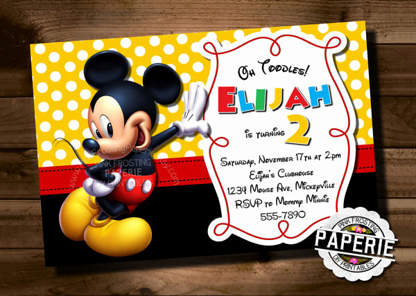 Mickey Mouse Clubhouse Invitation Templates Elegant Mickey Mouse Invitation Template – 23 Free Psd Vector