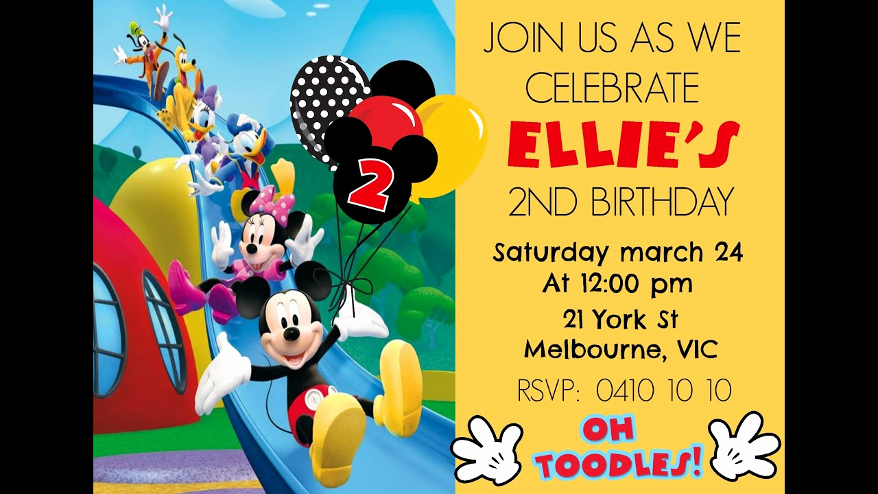 Mickey Mouse Clubhouse Invitation Templates Luxury Mickey Mouse Digital Invitation How to Make at Home Diy