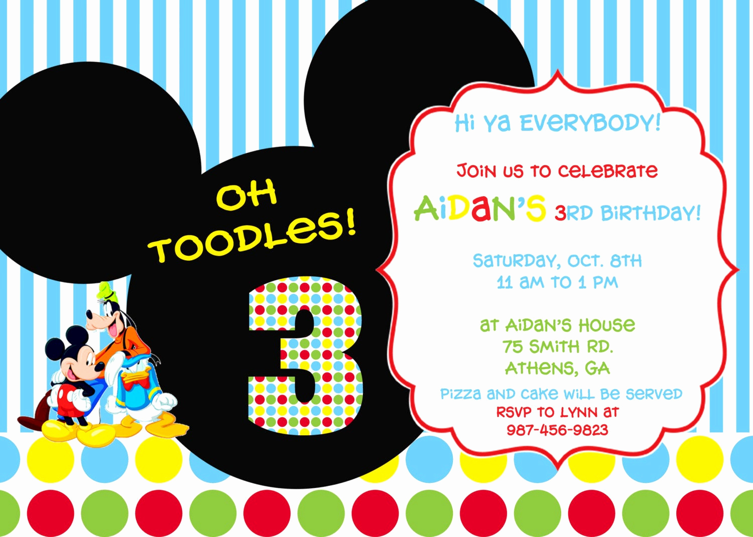 Mickey Mouse Clubhouse Invitation Templates New Colorful Mickey Mouse Clubhouse Party Invitation