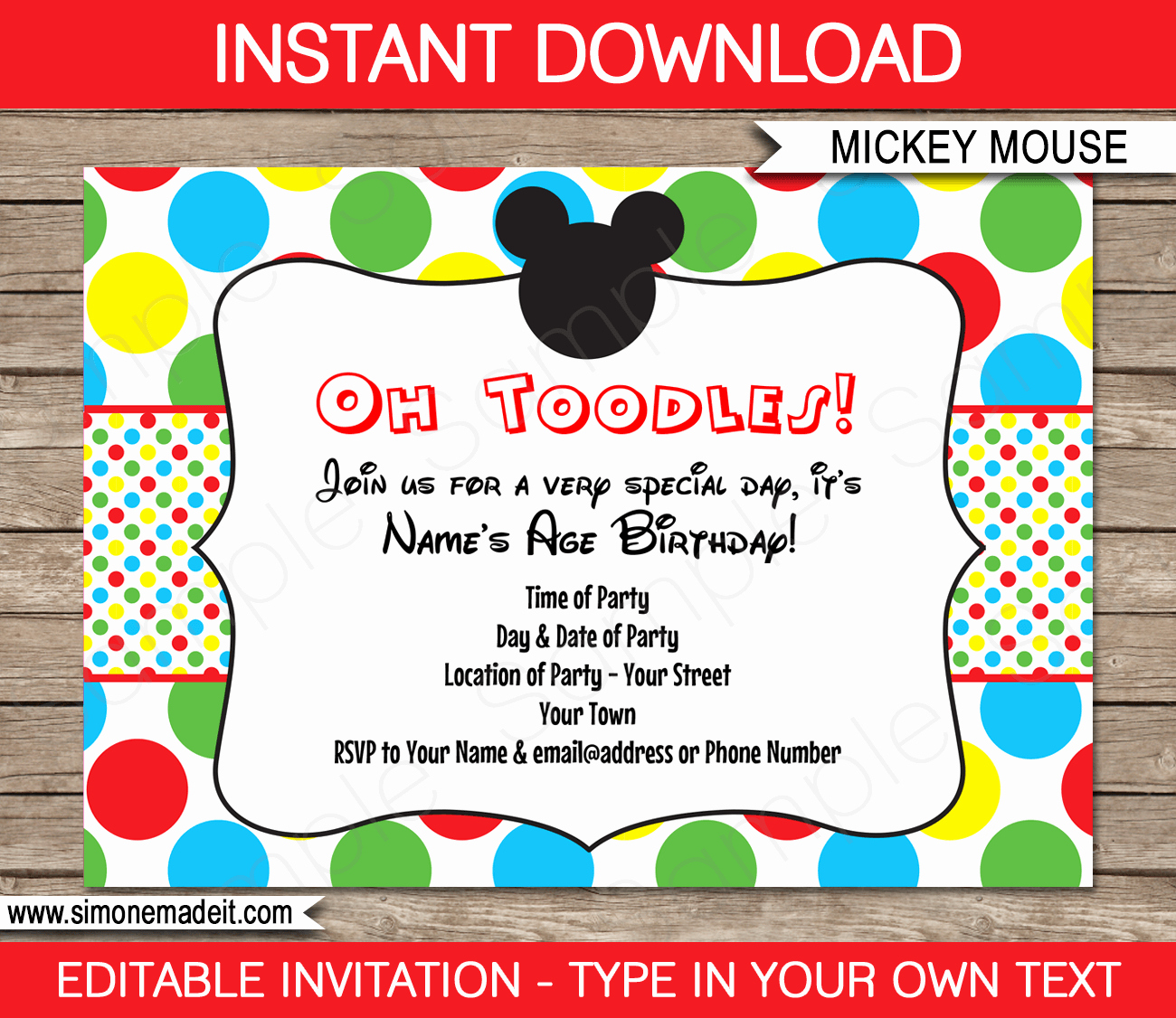 Mickey Mouse Clubhouse Invitation Templates New Mickey Mouse Party Invitations Template