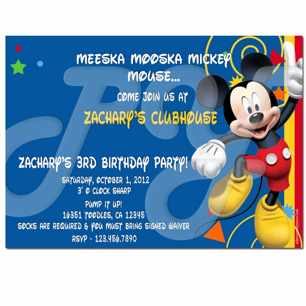 Mickey Mouse Clubhouse Invitation Templates Unique Free Mickey Mouse Clubhouse Birthday Invitation Templates