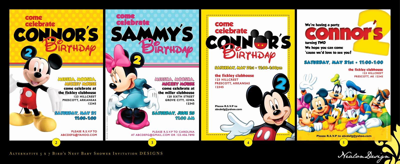 Mickey Mouse Clubhouse Invitation Unique Nealon Design Mickey Mouse Clubhouse Birthday Invitations