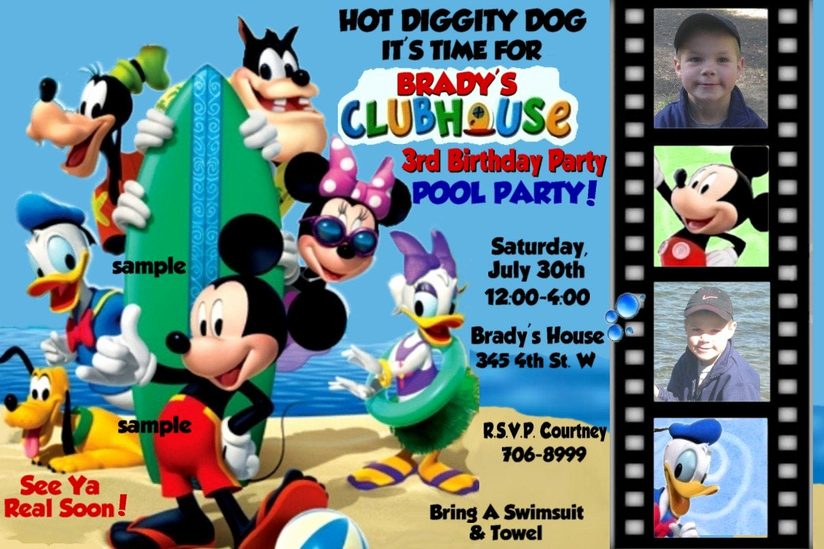Mickey Mouse Clubhouse Invitation Unique Pool Party Mickey Mouse Clubhouse Invitations by Montanalisa
