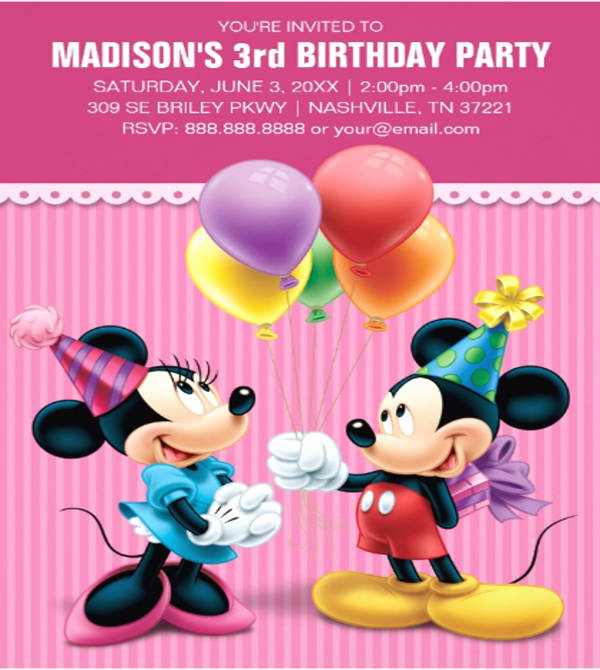 Mickey Mouse Head Invitation Template Awesome 8 Mickey Mouse Invitation Templates Download