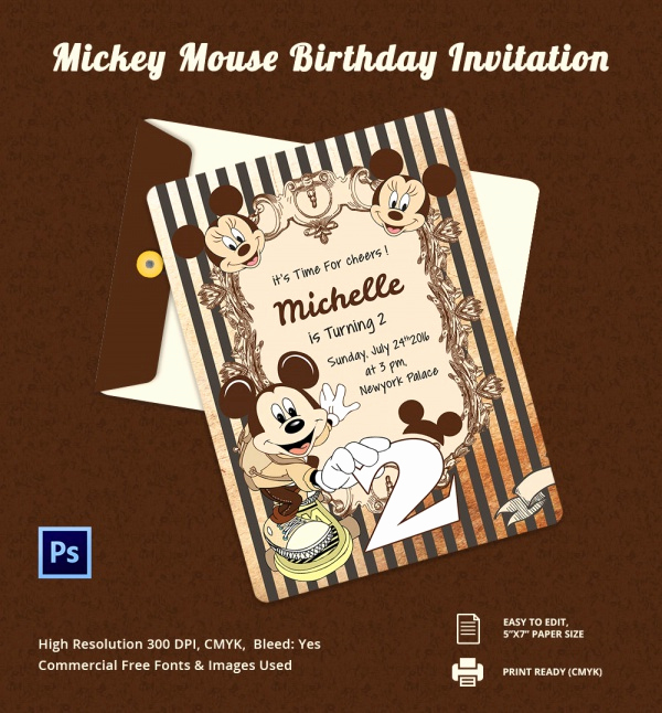 Mickey Mouse Head Invitation Template Awesome Sample Mickey Mouse Invitation Template 13 Download